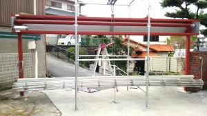 施工中・本体吊り込み作業